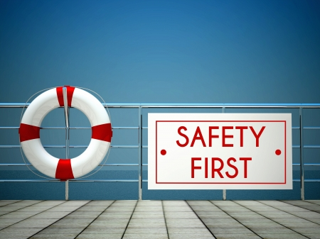 Sicurezza Primo segno in piscina con salvagente Archivio Fotografico