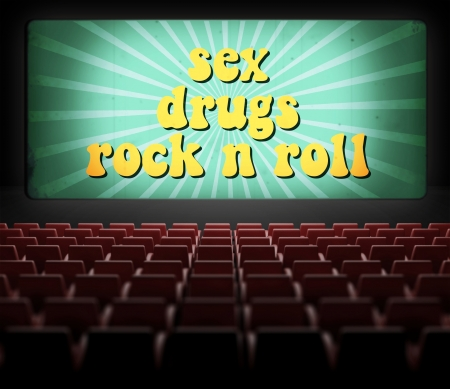 Sex, drugs and rock n roll concept movie screen in old retro cinema photo