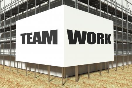 overbuilding: Teamwork on scaffold advertising billboard