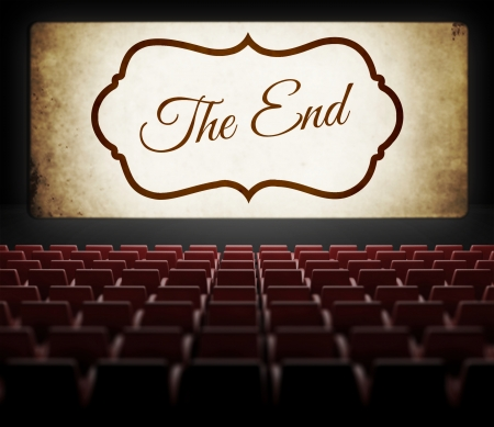 noire: The End screen of Movie in old retro cinema, view from audience Stock Photo