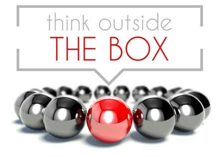 Denk buiten de doos uniek concept