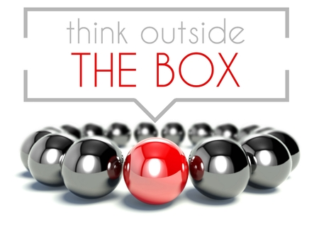outside box: Think outside the box business unique concept