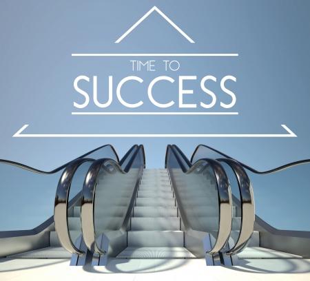 Tiempo al concepto de éxito con escalera al cielo