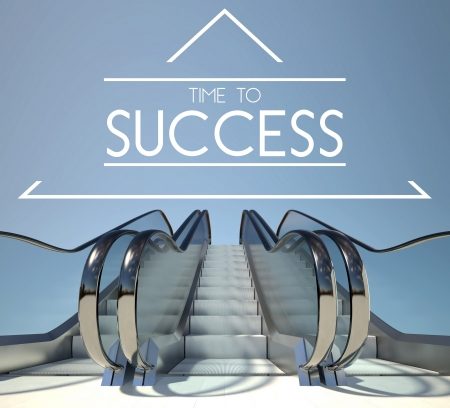 success concept: Time to success concept with stairway to heaven