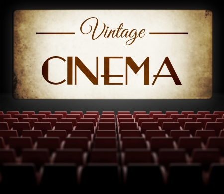 noire: Vintage cinema movie in old retro interior, view from audience Stock Photo