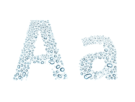 write a letter: Water drops alphabet letter a, isolated on white Stock Photo