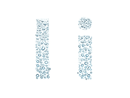 Water drops alphabet letter i, isolated on white
