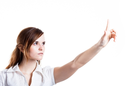 Womans hand and one finger pointing something, isolated white