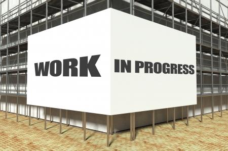 overbuilding: Work in progress on scaffold advertising billboard