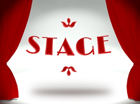 3d Theater stage with red curtains Stock Photo - 25317096