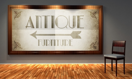 Antique furniture vintage direction sign in old fashioned frame, retro interior photo