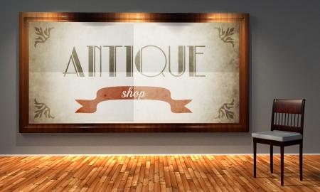 Antique vintage shop in old fashioned frame, retro interior photo