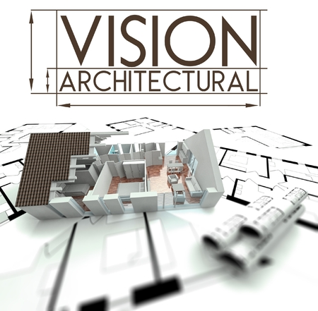Architectural vision sign with project of house on blueprints photo