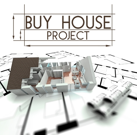 Buy house project slogan with render of building on blueprints photo