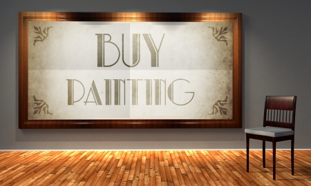 Buy painting vintage advertising in old fashioned frame, retro interior photo