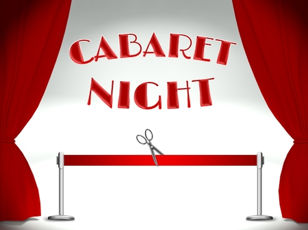 Cabaret night on stage, red ribbon and scissors Stock Photo - 25317007