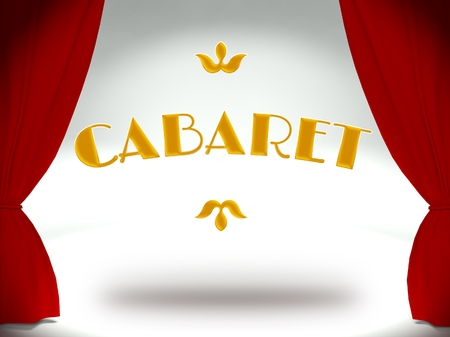 Cabaret on theater stage with red curtains, concept of the show Stock Photo - 25317008