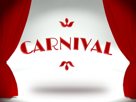 moulin: Carnival on theater stage with red curtains, invitation