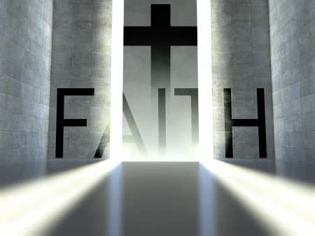 christian faith: Christian cross on wall in modern interior, concept of faith Stock Photo