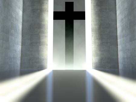 Christian cross on wall in modern interior, concept of faith Stock Photo