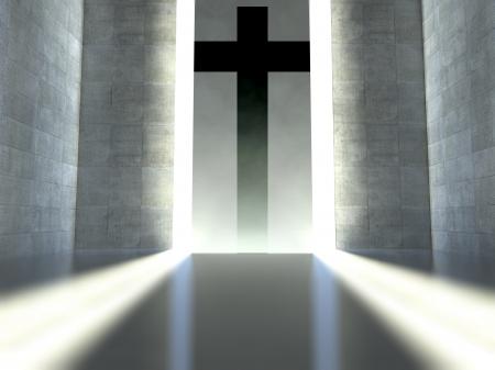 Cruz cristiana en pared en un interior moderno, el concepto de la fe