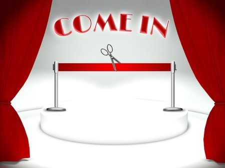 come in: Come in on theater stage, red ribbon and scissors Stock Photo
