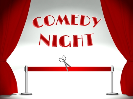 Comedy night on stage, red ribbon and scissors