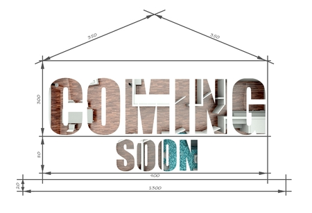Coming soon architectural illustration in modern house blueprint