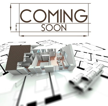 Coming soon sign with project of house on blueprints
