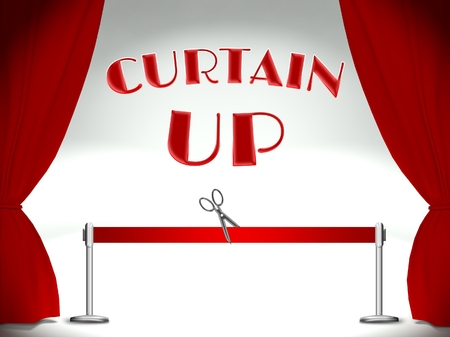curtain up: Curtain up, red ribbon and scissors