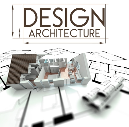 3d Design architecture with project of house on blueprints photo