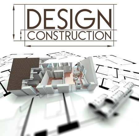 3d Design construction with project of house on blueprints photo