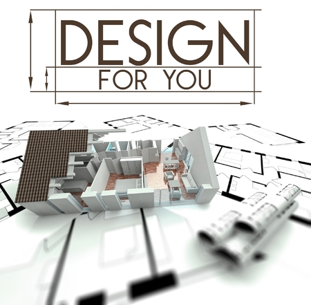 3d Design for you with project of house on blueprints