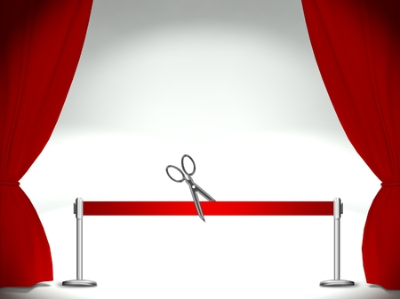 moulin: Empty stage, red ribbon cutting pair of scissors Stock Photo