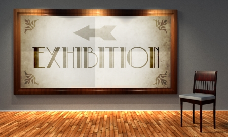 Exhibition vintage direction sign in old fashioned frame, retro interior photo
