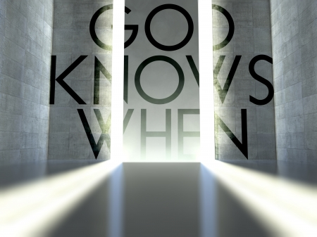 God knows when slogan on wall in modern interior, concept of faith photo