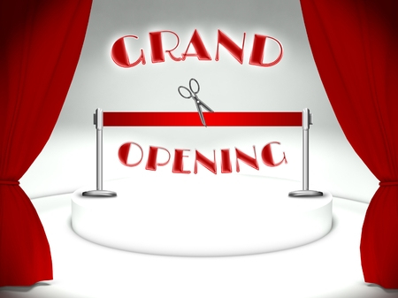 Grand opening on theater stage, red ribbon and scissors Stock Photo - 25316861