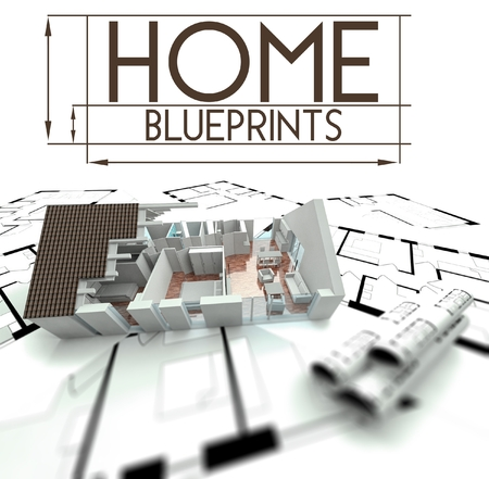 Home blueprints with project of house render photo