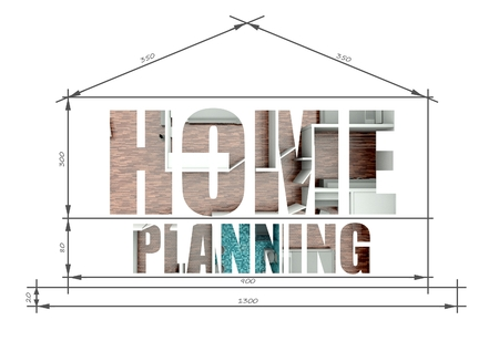 Home planning architectural illustration in modern house blueprint illustration
