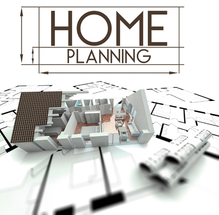 Home planning sign with project of house on blueprints photo
