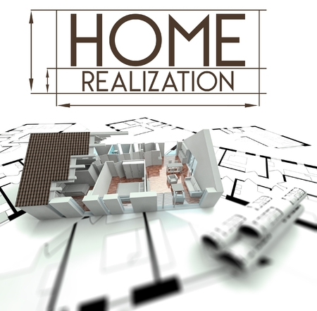 Home realization with project of house on blueprints