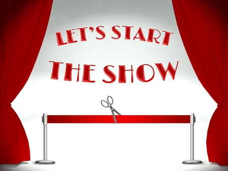 Lets start the show, red ribbon and scissors Stock Photo - 25316823
