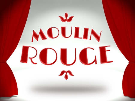 rouge: Moulin rouge on theater stage with red curtains, concept of the show