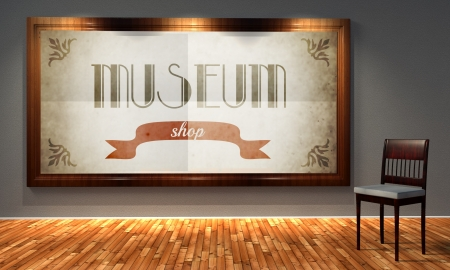 Museum shop in old fashioned frame, retro interior photo