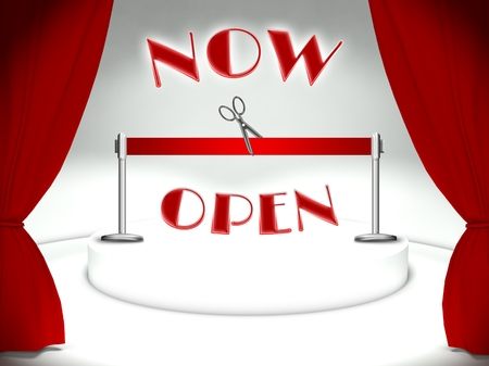 Now open on theater stage, red ribbon and scissors Stock Photo - 25316841