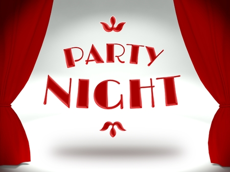 Party night on theater stage with red curtains, concept of the show Stock Photo - 25316773