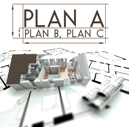Plan A, B and C with project of house on blueprints photo