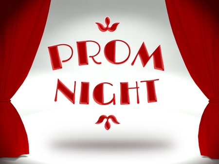 Prom night on theater stage with red curtains, invitation Stock Photo - 25316699