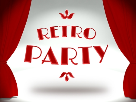 prom night: Retro party on theater stage with red curtains, concept of the show