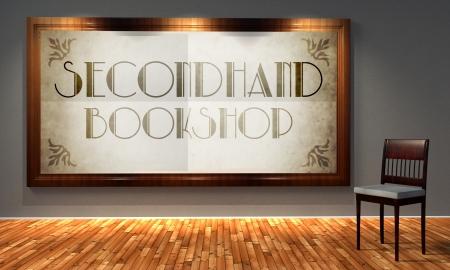 secondhand: Secondhand vintage bookshop in old fashioned frame, retro interior